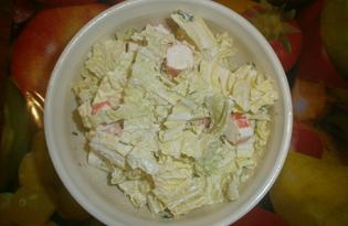 Салат с пекинской капустой, крабовыми палочками и чесноком (пошаговый фото рецепт)