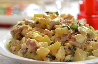 Салат с копчёным окорочком и ананасом (пошаговый фото рецепт)