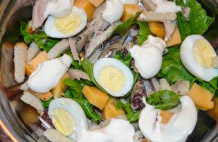 """Салат """"Цезарь"""" с перепелиными яйцами и майонезом (пошаговый фото рецепт)"""