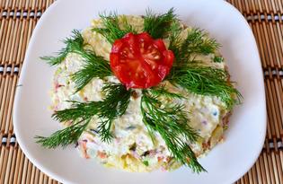 """Салат """"Зимний"""" с черносливом и колбасой (пошаговый фото рецепт)"""
