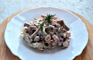 Салат с ветчиной, сыром и фасолью (пошаговый фото рецепт)