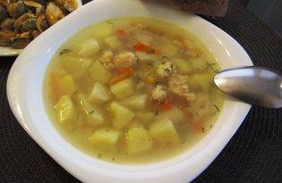 Суп с мясом криля и кукурузой (пошаговый фото рецепт)