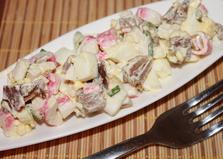 Салат из крабовых палочек и утиного мяса (пошаговый фото рецепт)