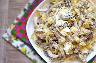 Салат с говядиной и сухариками (пошаговый фото рецепт)