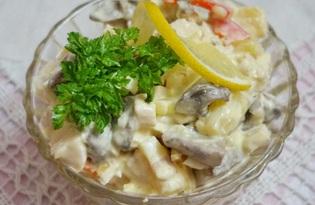 Салат с курицей, грибами и болгарским перцем (пошаговый фото рецепт)
