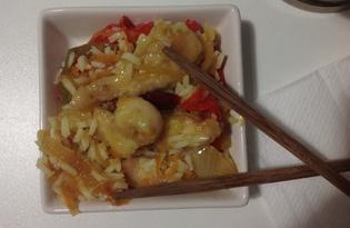 Рис с курицей в кисло-сладком имбирном соусе (пошаговый фото рецепт)