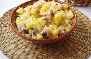 Салат с копченой скумбрией (пошаговый фото рецепт)