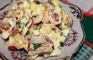 Салат с редисом, кальмарами и яйцами (пошаговый фото рецепт)