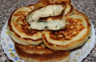 Оладьи с зеленым луком и твердым сыром (пошаговый фото рецепт)