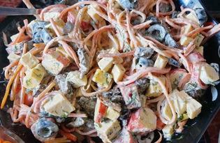 Салат с крабовыми палочками и корейской морковкой (пошаговый фото рецепт)