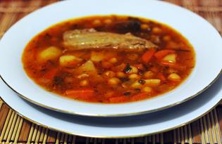 Испанский суп с нутом «Косидо» (пошаговый фото рецепт)
