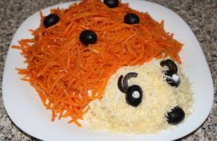 """Салат с отварной говядиной и корейской морковкой """"Ежик"""" (пошаговый фото рецепт)"""