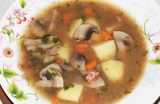 Густой суп из шампиньонов (пошаговый фото рецепт)