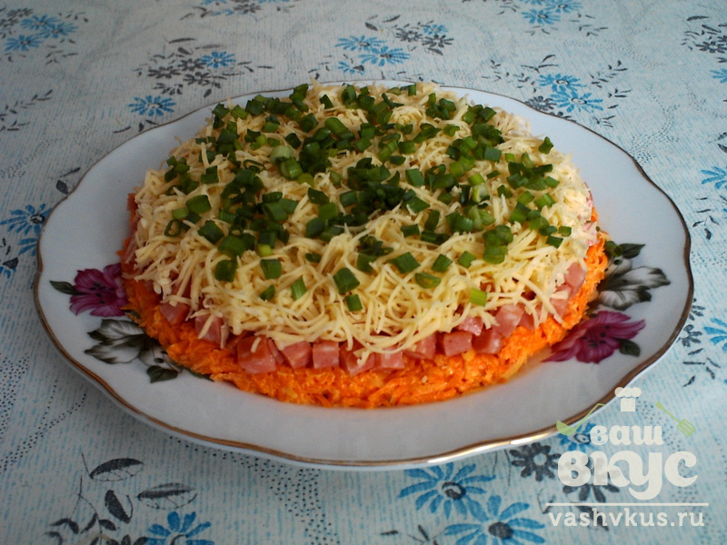 Салаты из моркови и колбасы рецепты простые