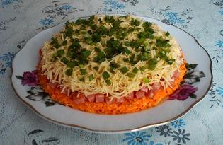 Слоеный салат с копченой колбасой и морковью (пошаговый фото рецепт)