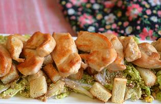 Салат из пекинской капусты с курицей и сухариками (пошаговый фото рецепт)