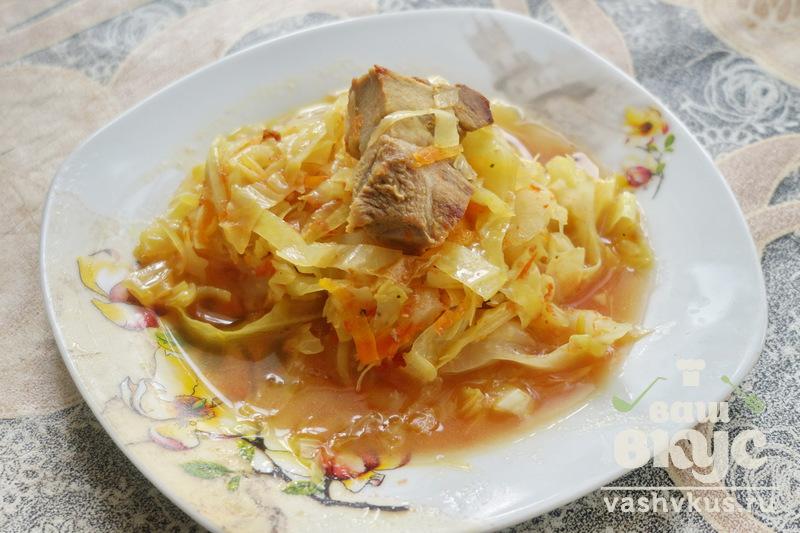 тушеная картошка с капустой и с мясом пошаговый рецепт