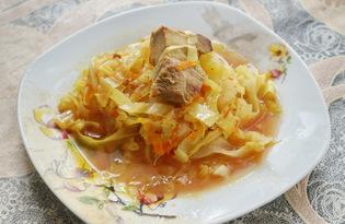 Тушеная капуста с мясом в казане (пошаговый фото рецепт)