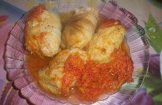 Голубцы из пекинской капусты в томатном соусе (пошаговый фото рецепт)
