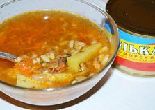 Суп из кильки в томатном соусе с рисом (пошаговый фото рецепт)