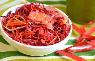 Витаминный салат со свеклой, морковью и яблоком (пошаговый фото рецепт)
