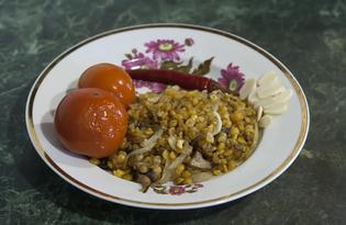 Горох с жареными шампиньонами (пошаговый фото рецепт)
