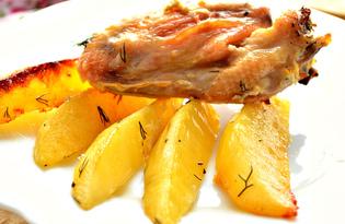 Куриные крылышки, запеченные с картофелем и свежей зеленью (пошаговый фото рецепт)