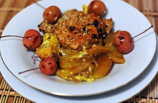 Курица, запеченная с картофелем и луком (пошаговый фото рецепт)