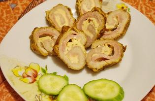 Рулетики с сыром и колбасой (пошаговый фото рецепт)