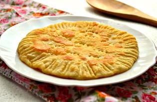 Лепешка с плавленым сыром на сковороде (пошаговый фото рецепт)