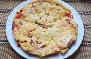 Пицца - омлет с колбасой (пошаговый фото рецепт)
