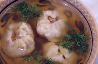 Дамплин со свининой и тыквой в бульоне (пошаговый фото рецепт)