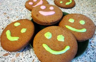 Шоколадное печенье «Смайлики» (пошаговый фото рецепт)