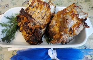 Запеченные свиные ребрышки со специями (пошаговый фото рецепт)