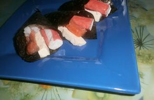 Закуска из водорослей нори с начинкой (пошаговый фото рецепт)