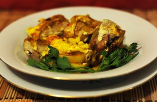 Минтай, запеченный с картофелем и луком (пошаговый фото рецепт)