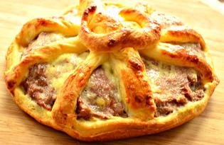Открытый мясной мини - пирог (пошаговый фото рецепт)