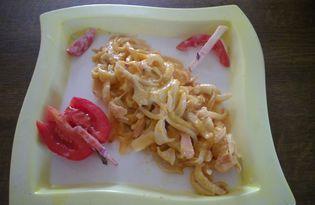 Кальмары в томатно - сметанном соусе (пошаговый фото рецепт)