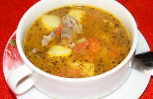 Тыквенный суп с куриными желудочками (пошаговый фото рецепт)