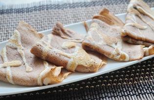 Шоколадные блины с узором (пошаговый фото рецепт)