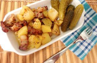 Пряный картофель со свининой в духовке (пошаговый фото рецепт)