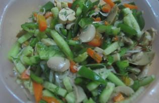 Салат из овощей и шампиньонов (пошаговый фото рецепт)