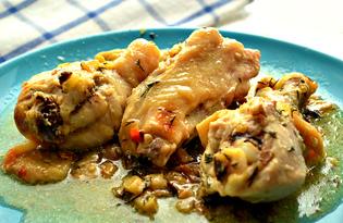 Курица с жареными грибами в рукаве (пошаговый фото рецепт)