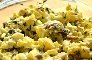 Картофельный салат с грибами и солеными огурцами (пошаговый фото рецепт)
