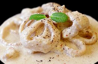 Кальмары жареные в сметане (пошаговый фото рецепт)