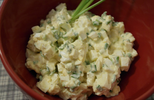 """Салат с зелёным луком и яйцом """"Весна"""" (пошаговый фото рецепт)"""