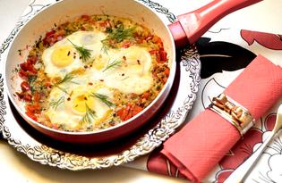 Яичница с овощами (пошаговый фото рецепт)