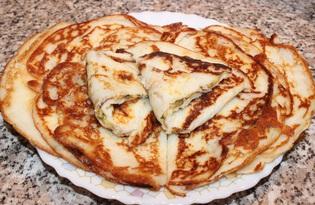 Блины на кефире с сыром и укропом (пошаговый фото рецепт)
