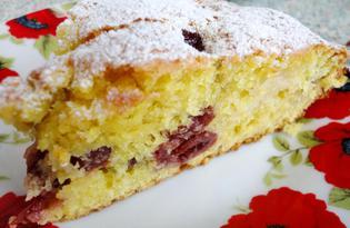 Пирог с яблоками и вишней (пошаговый фото рецепт)