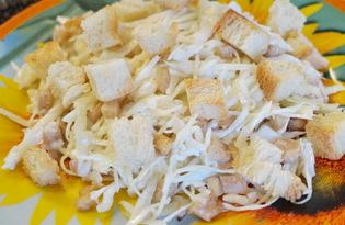 Салат из капусты, куриного филе и сухарей (пошаговый фото рецепт)